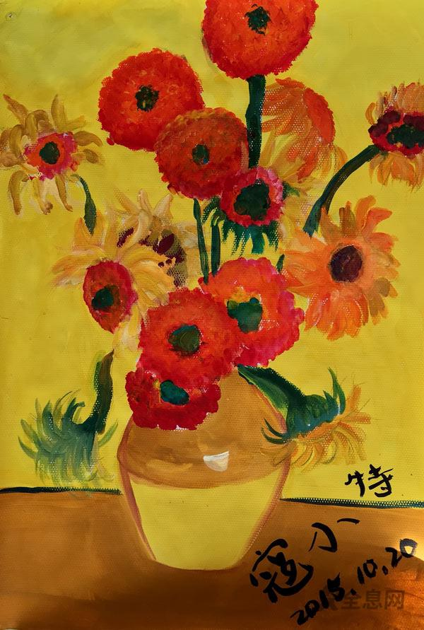儿童画欣赏:夏日别样向日葵,明亮惹人心醉