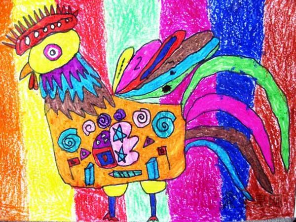 儿童画公鸡—公鸡公鸡真美丽